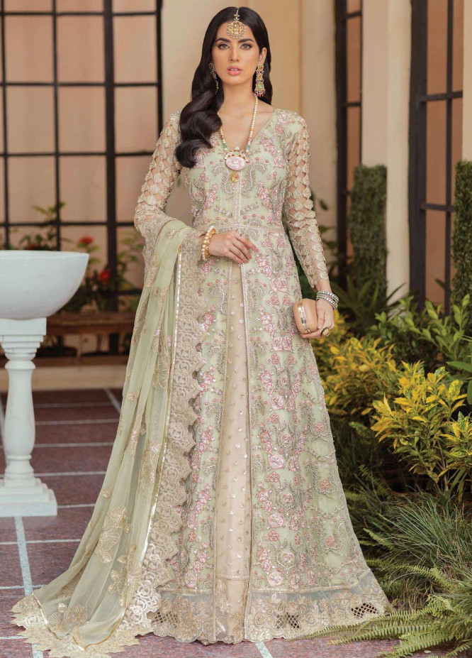 Soiree by Serene Premium Embroidered Net Suits Unstitched 3 Piece SP21SF S-1031 Olive Moss - Festive Collection
