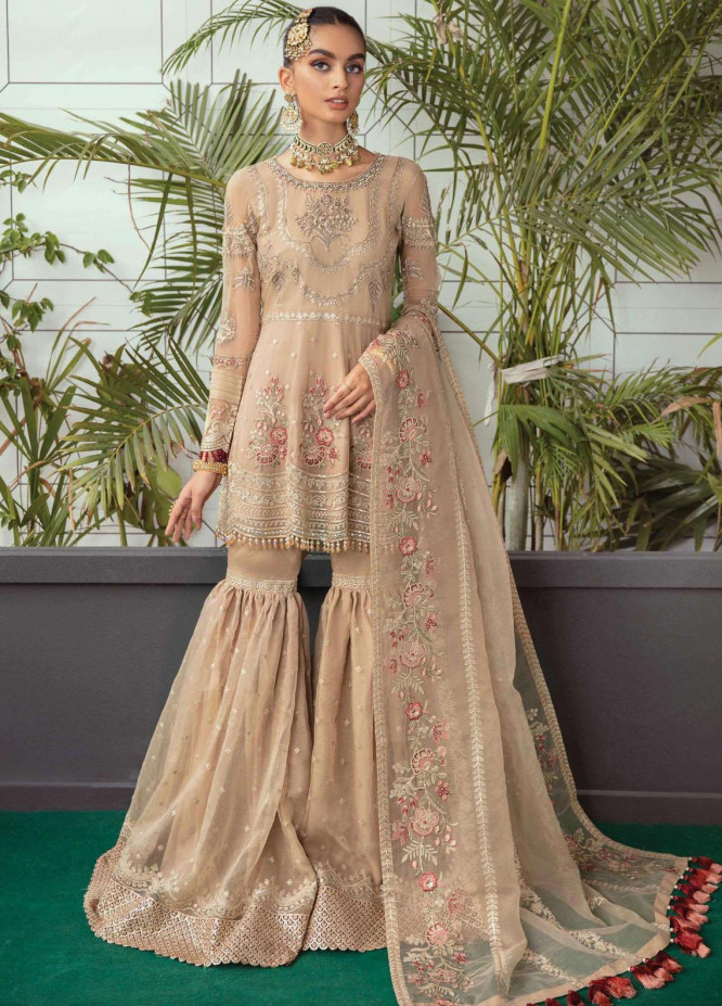 Soiree by Serene Premium Embroidered Chiffon Suits Unstitched 3 Piece SP21SF S-1036 Sandcastle - Festive Collection