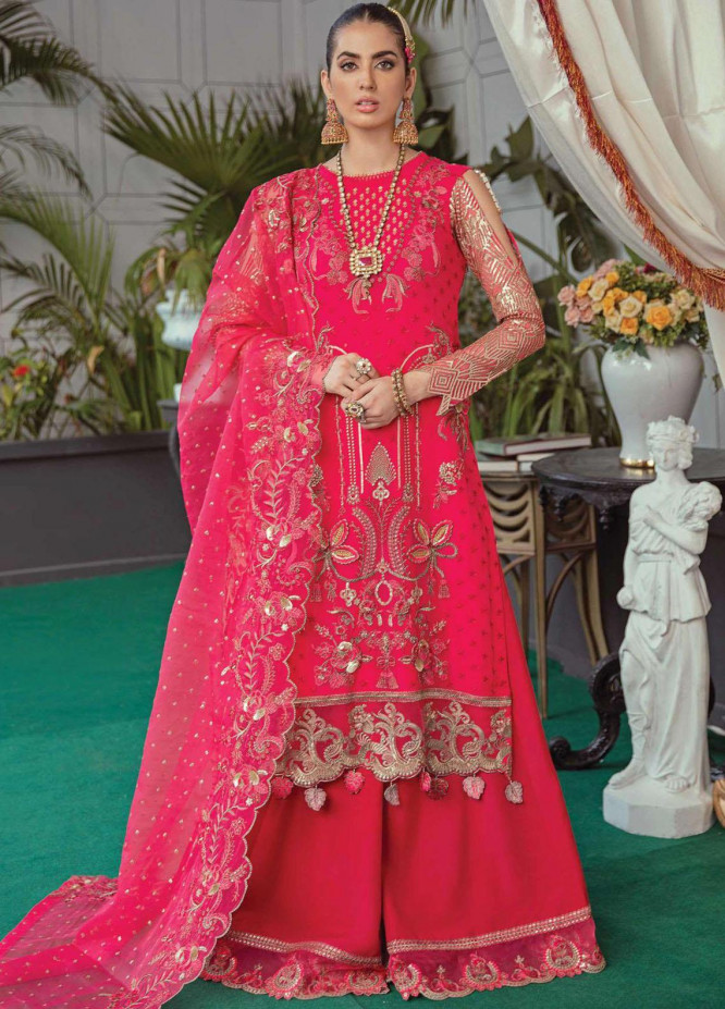 Soiree by Serene Premium Embroidered Chiffon Suits Unstitched 3 Piece SP21SF S-1037 French Rose - Festive Collection