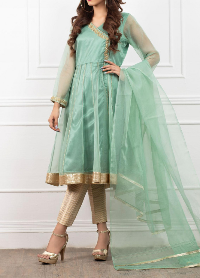 Spotlight Embroidered Organza Stitched 3 Piece Suit OPAL BLUE