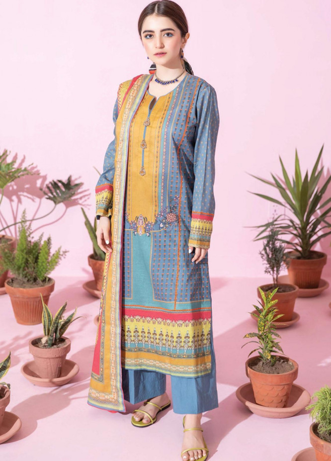 Spring Fling by Rang Rasiya Printed Lawn Suits Unstitched 3 Piece RR21SF 707 Evening Blue - Summer Collection