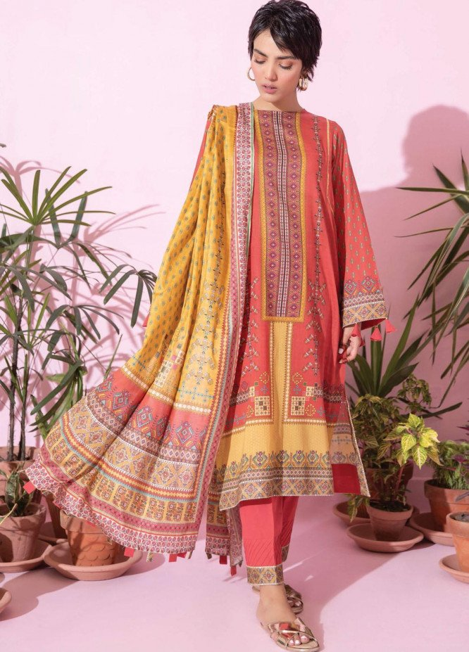 Spring Fling by Rang Rasiya Printed Lawn Suits Unstitched 3 Piece RR21SF 717 Mango Truffle - Summer Collection