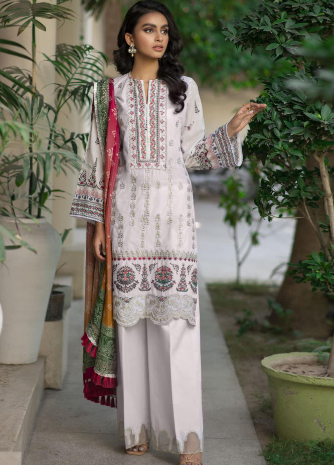 Saira Rizwan Embroidered Lawn Suits Unstitched 3 Piece SR21E 01 Pearl White - Eid Collection