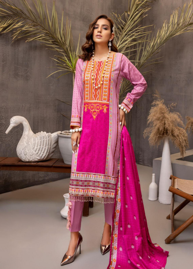 Subhhata Masakali by ZS Textiles Embroidered Lawn Suits Unstitched 3 Piece ZS21SM-2 D-07 - Summer Collection