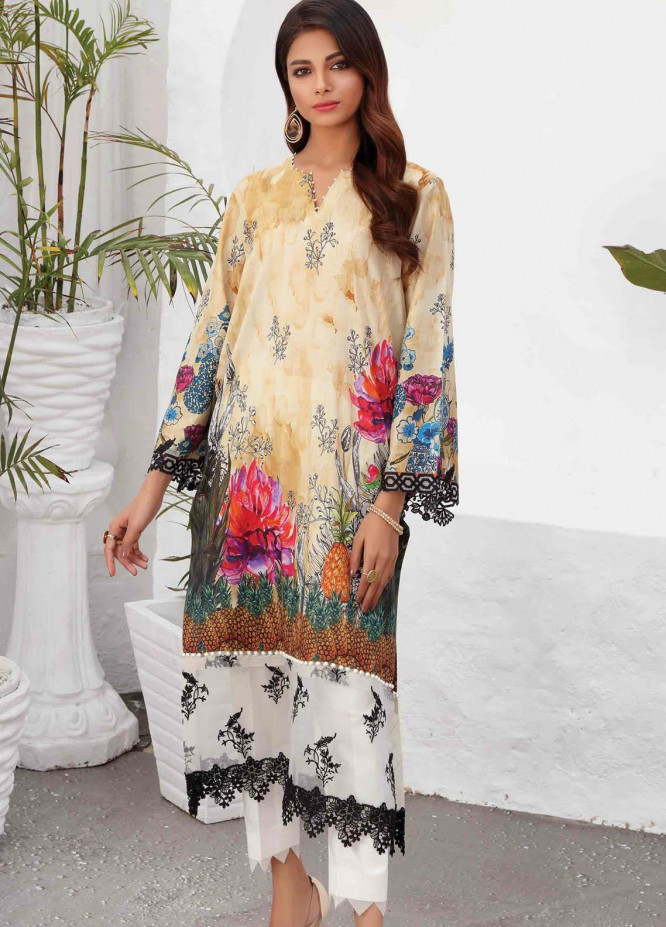 Taabir By Afsaneh Embroidered Lawn  Unstitched Kurties AFH21T Gul B - Summer Collection