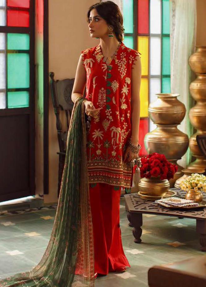 Tabeer by Cross Stitch Embroidered Lawn Suits Unstitched 3 Piece CS21T 03-BLOOMING UMBER - Summer Collection