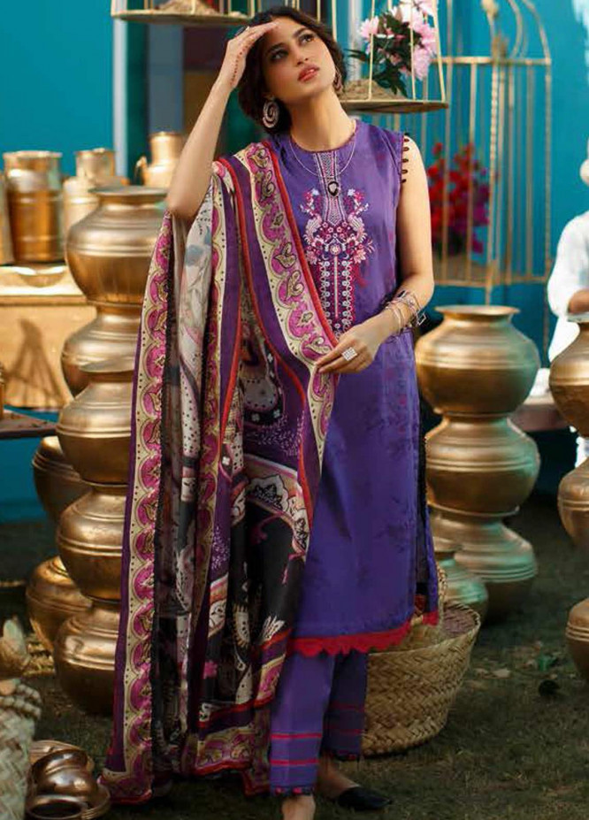 Tabeer by Cross Stitch Embroidered Lawn Suits Unstitched 3 Piece CS21T 13-BERRY BLUE - Summer Collection