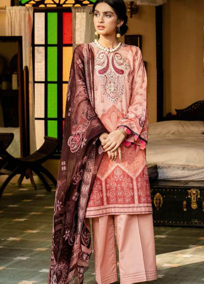 Tabeer by Cross Stitch Embroidered Lawn Suits Unstitched 3 Piece CS21T 21-TANGERINE BLUFF - Summer Collection