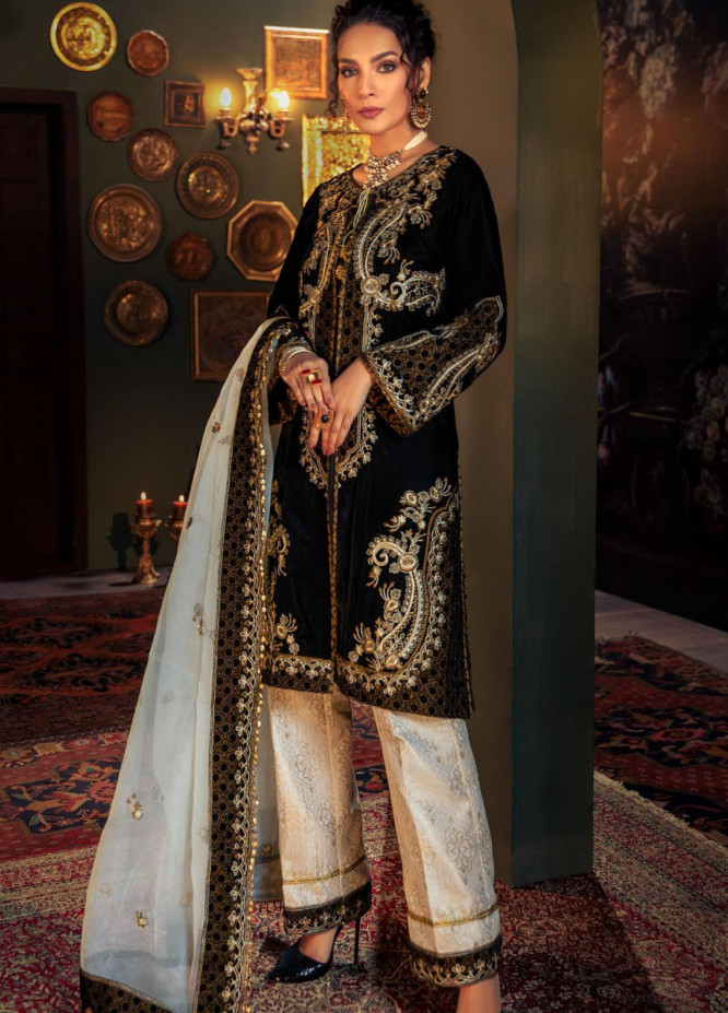 Tehzeeb by Mohagni Embroidered Velvet Unstitched 3 Piece Suit MO20TV 07 - Winter Collection