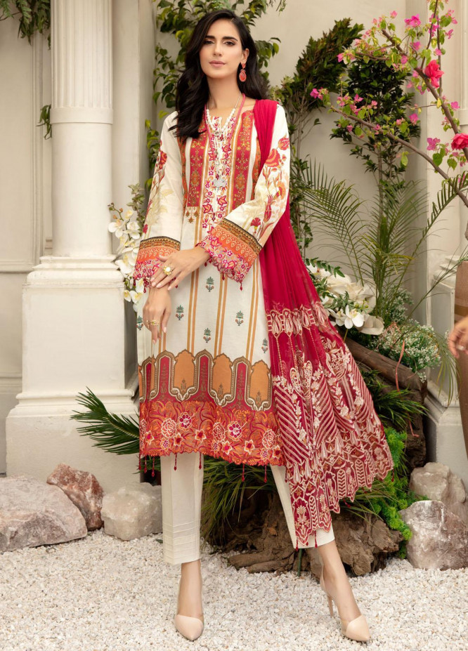 Tehzeeb by Riaz Arts Embroidered Lawn Suits Unstitched 3 Piece RA21TZ TL-19 - Summer Collection
