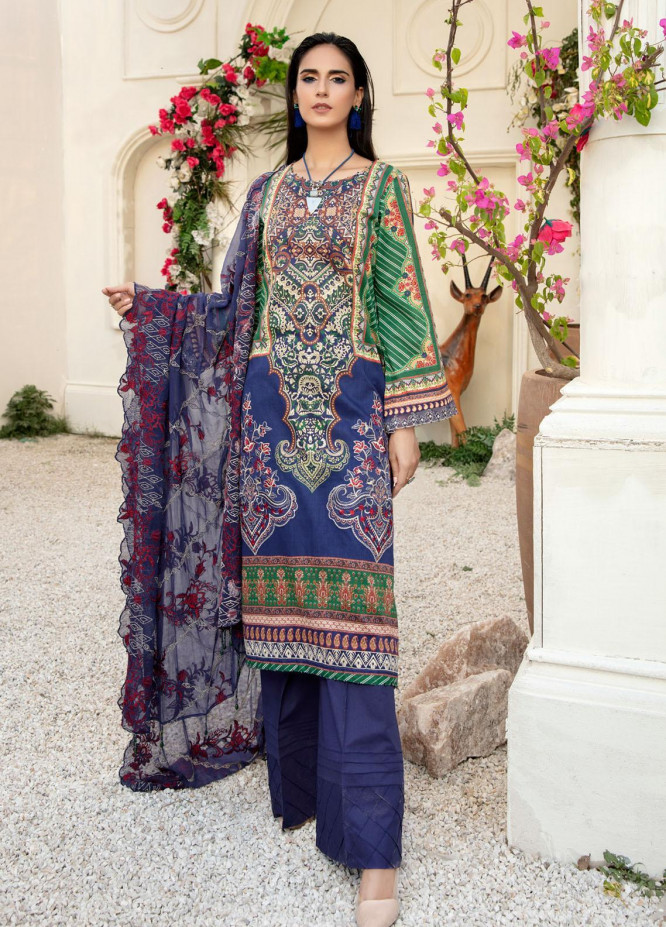 Tehzeeb by Riaz Arts Embroidered Lawn Suits Unstitched 3 Piece RA21TZ TL-20 - Summer Collection