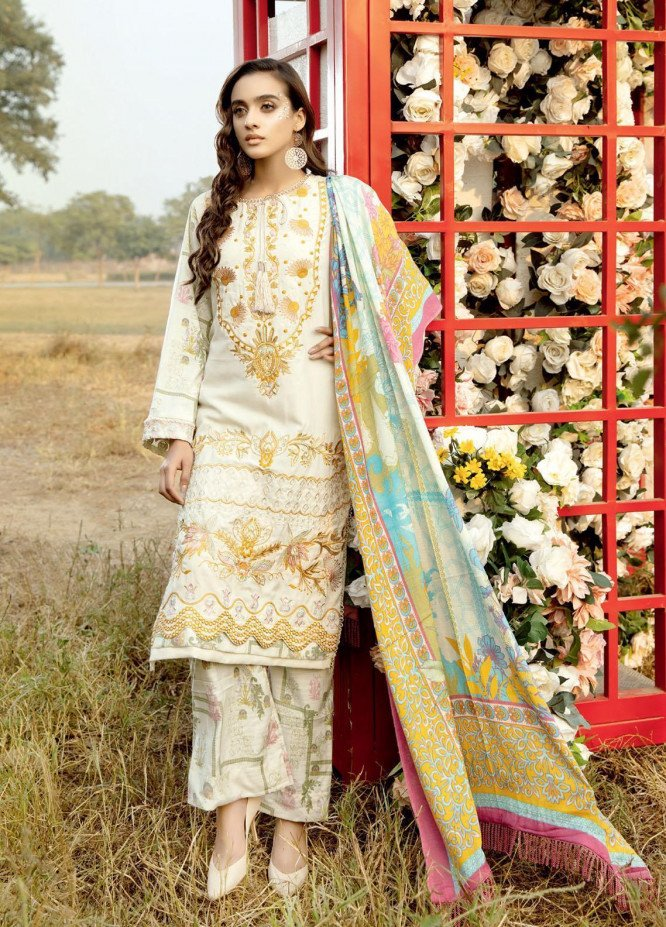 Tehzeeb by Riaz Arts Embroidered Leather Peach Suits Unstitched 3 Piece RA21TL LP-02 - Winter Collection