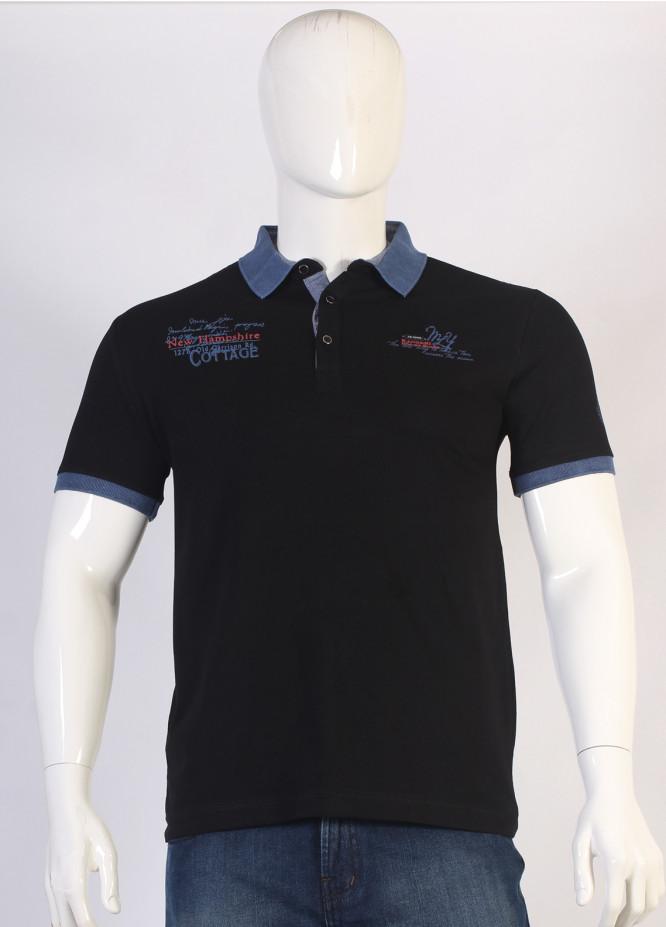 Sanaulla Exclusive Range Jersey Polo Men T-Shirts - Black TKM18S 366-03