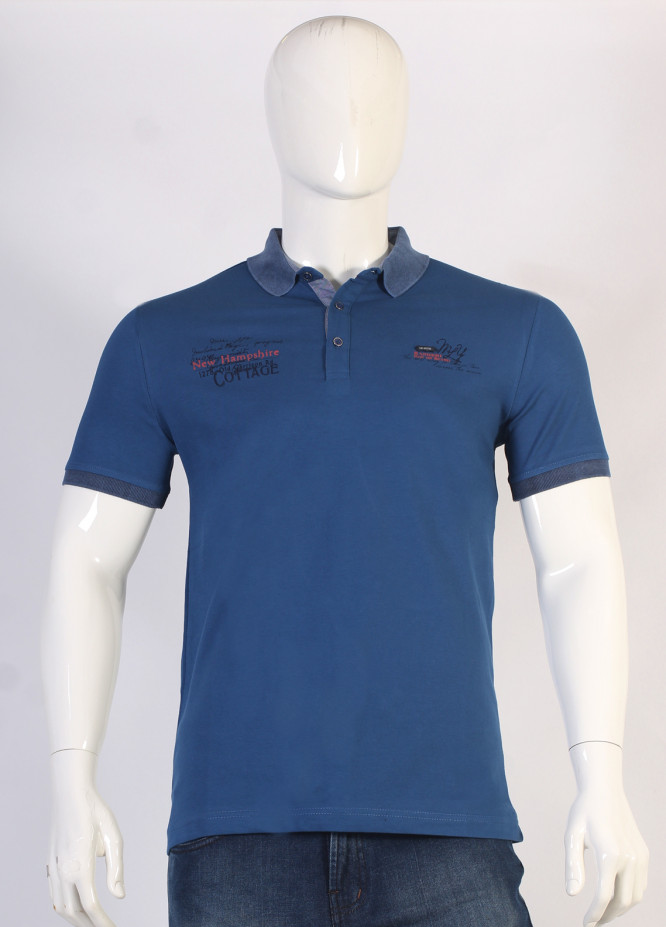 Sanaulla Exclusive Range Jersey Polo Men T-Shirts - Blue TKM18S 366-04