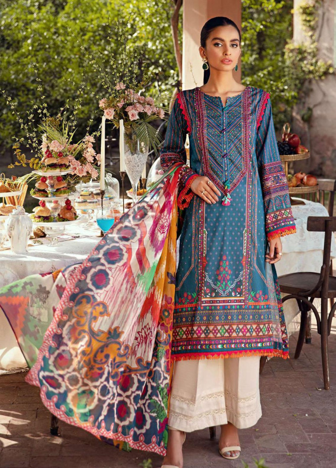 Umang by Motifz Embroidered Lawn Suits Unstitched 3 Piece MT21-LU2 2897 Saffron - Summer Collection