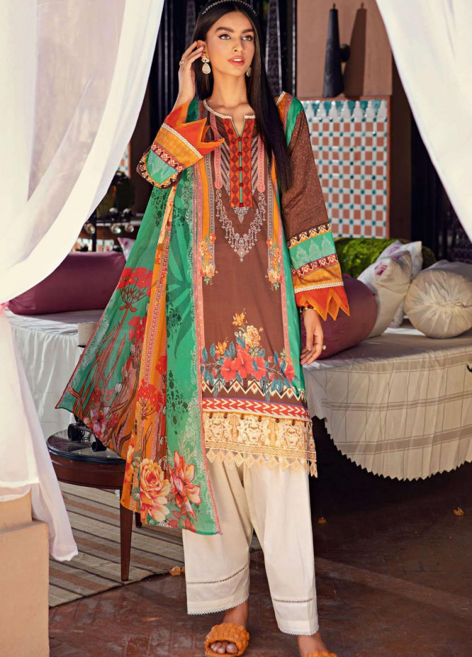 Umang by Motifz Embroidered Lawn Suits Unstitched 3 Piece MT21-LU2 2906 Jangle Chints - Summer Collection