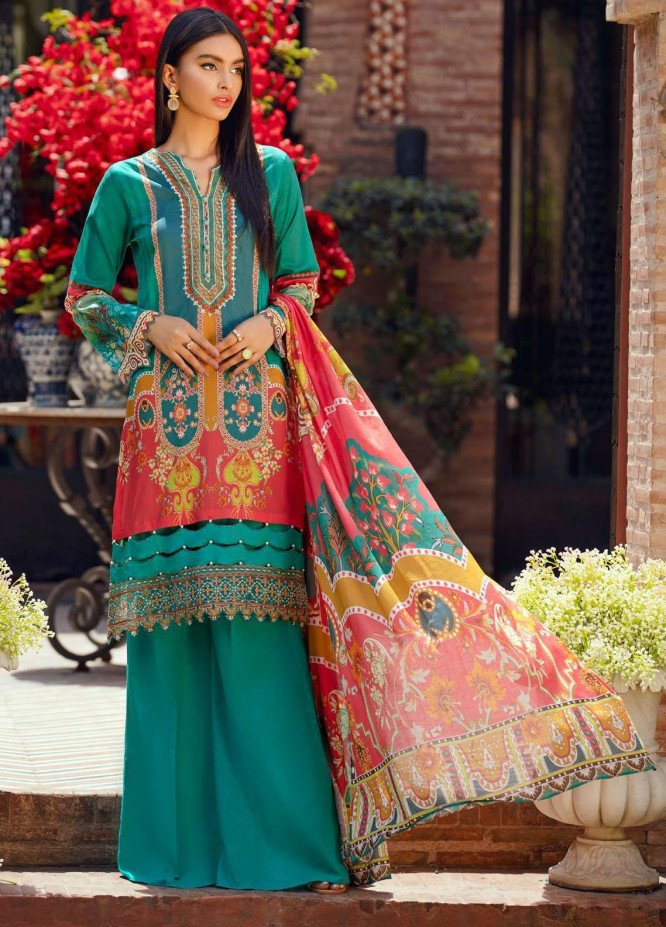 Umang by Motifz Embroidered Lawn Suits Unstitched 3 Piece MT21-LU2 2907 Green Bloom - Summer Collection