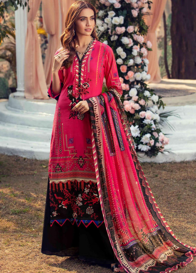 Umang by Motifz Embroidered Lawn Suits Unstitched 3 Piece MT21LU 2817 Electric Pink - Summer Collection