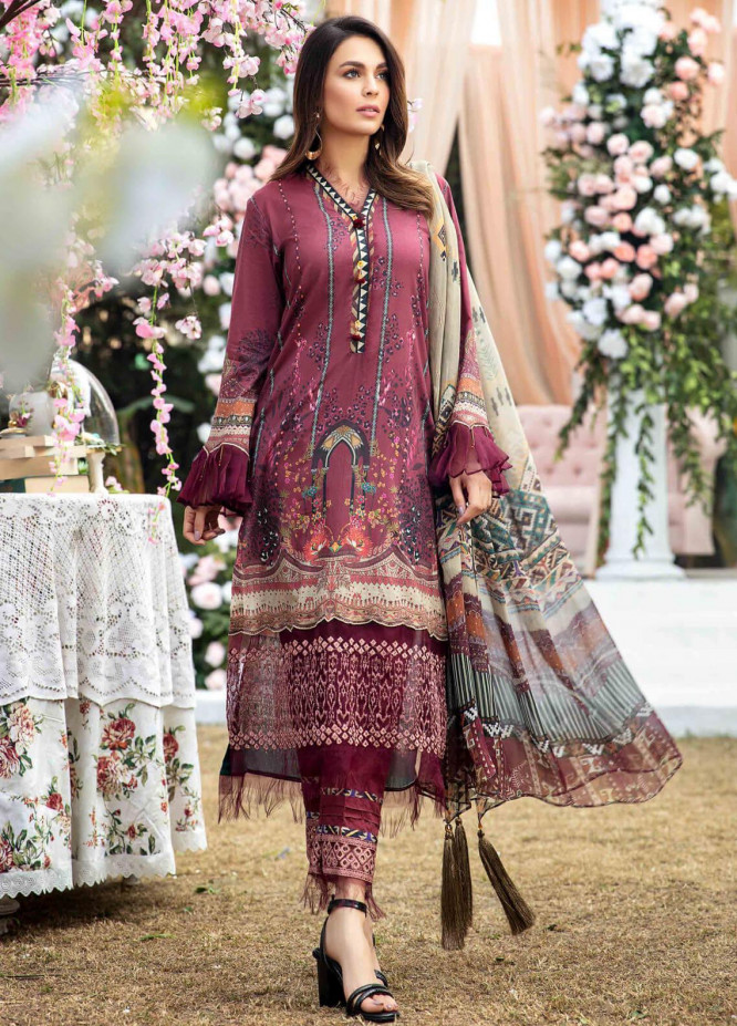 Umang by Motifz Embroidered Lawn Suits Unstitched 3 Piece MT21LU 2820 Choco Gold - Summer Collection