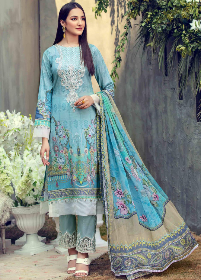 Umang by Motifz Embroidered Lawn Suits Unstitched 3 Piece MT21LU 2821 Blue Bell - Summer Collection