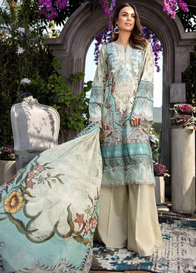 Umang by Motifz Embroidered Lawn Suits Unstitched 3 Piece MT21LU 2823 Aqua Bloom - Summer Collection