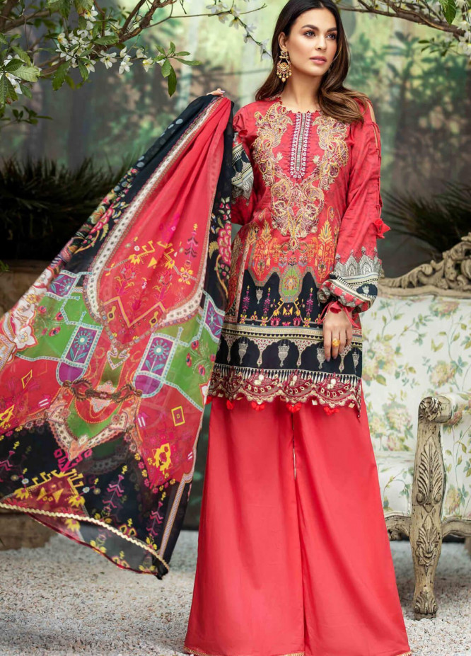 Umang by Motifz Embroidered Lawn Suits Unstitched 3 Piece MT21LU 2825 Ruby Red - Summer Collection