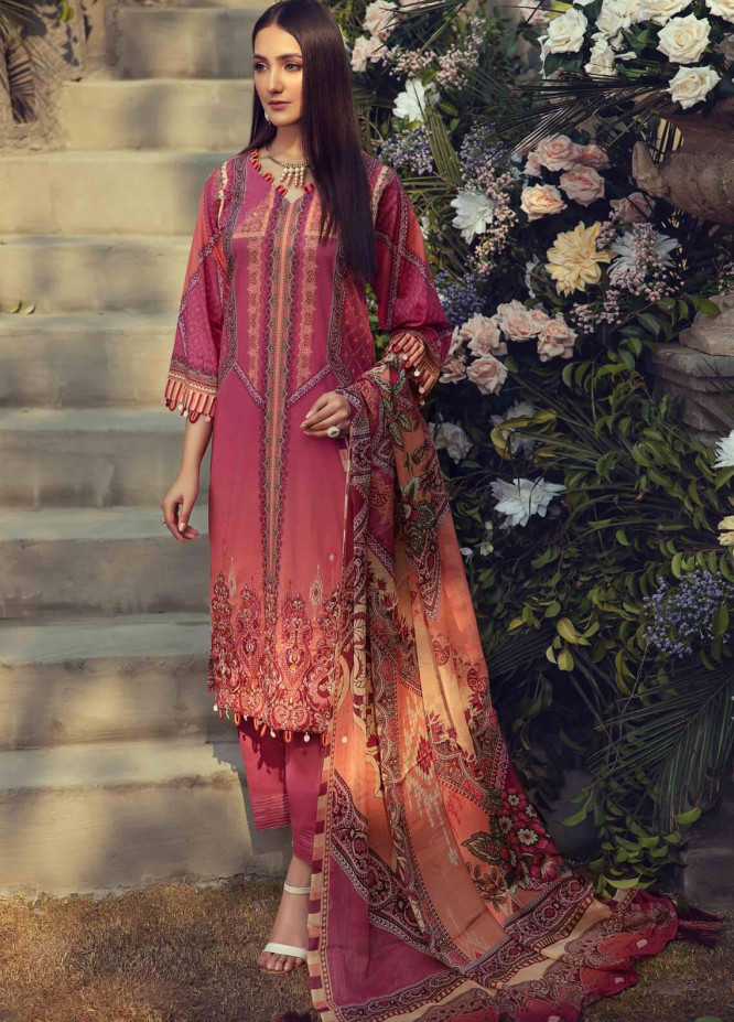 Umang by Motifz Embroidered Lawn Suits Unstitched 3 Piece MT21LU 2826 Omber Fire - Summer Collection
