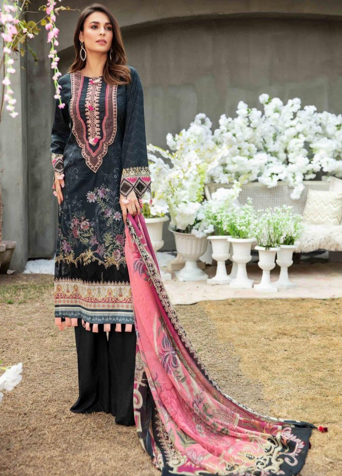 Umang by Motifz Embroidered Lawn Suits Unstitched 3 Piece MT21LU 2831 Black Waves - Summer Collection