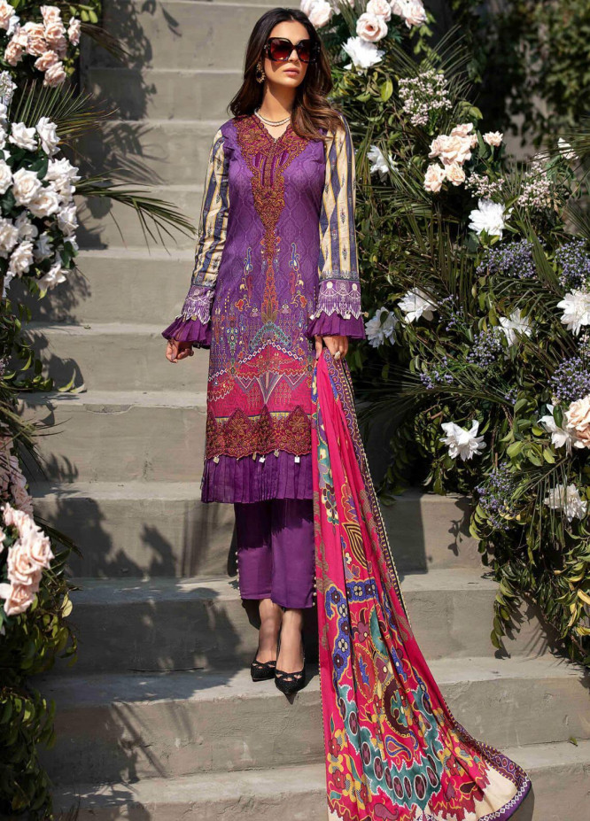 Umang by Motifz Embroidered Lawn Suits Unstitched 3 Piece MT21LU 2832 Purple Glimmer - Summer Collection
