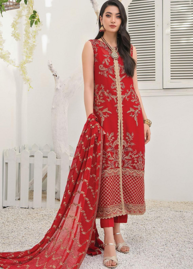 Umang by Blanche Fashion Embroidered Chiffon Unstitched 3 Piece Suit BLF21U 01 GARNET - Luxury Collection