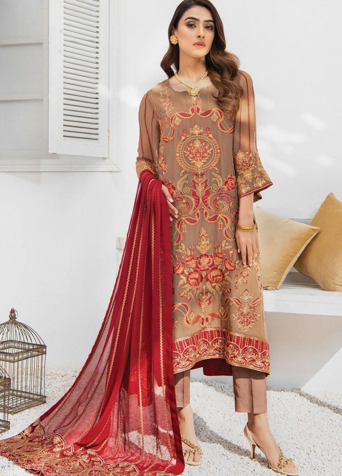 Umang by Blanche Fashion Embroidered Chiffon Unstitched 3 Piece Suit BLF21U 06 LOTUS - Luxury Collection