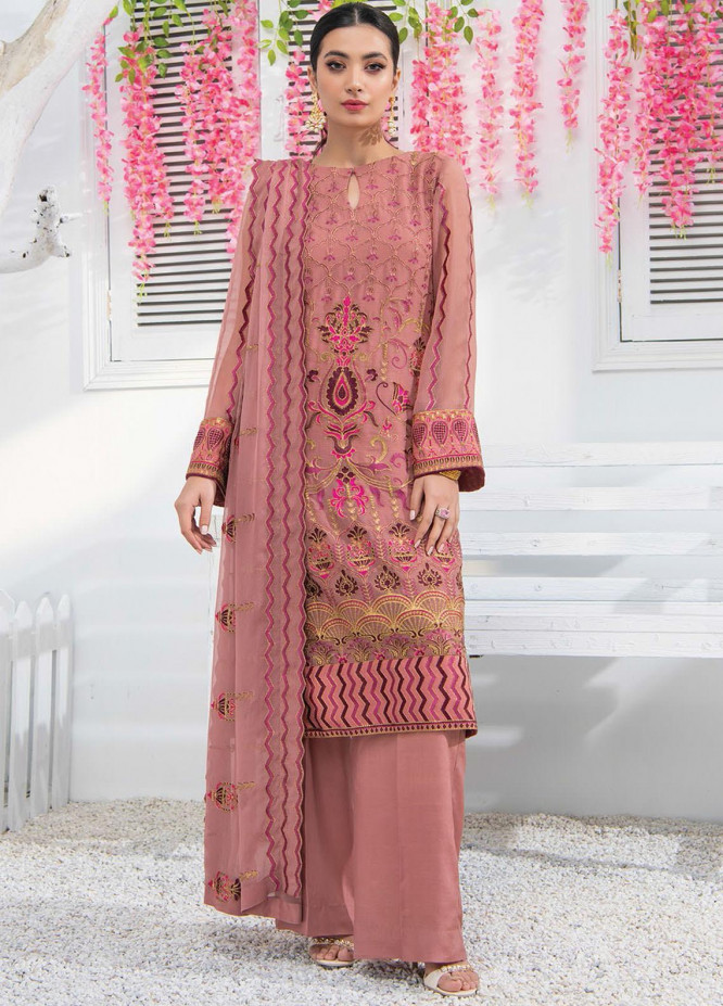Umang by Blanche Fashion Embroidered Chiffon Unstitched 3 Piece Suit BLF21U 08 ROSA - Luxury Collection