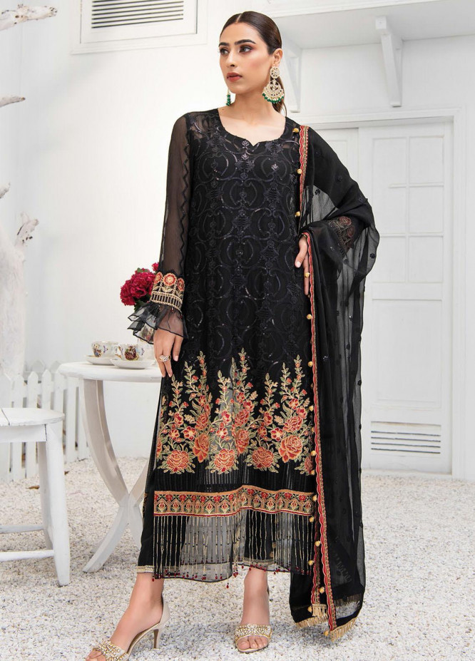 Umang by Blanche Fashion Embroidered Chiffon Unstitched 3 Piece Suit BLF21U 09 ONYX - Luxury Collection