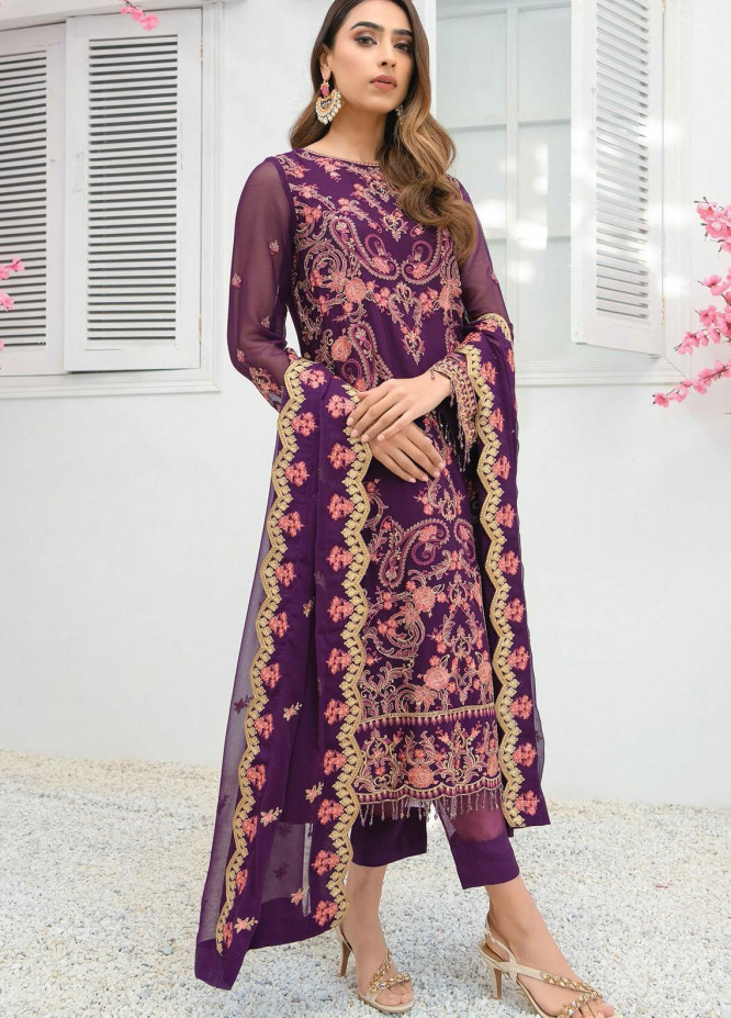Umang by Blanche Fashion Embroidered Chiffon Unstitched 3 Piece Suit BLF21U 10 MENARA - Luxury Collection
