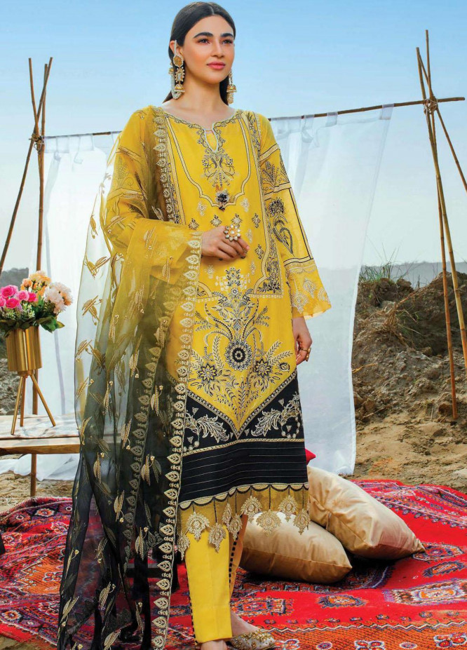 Uns-e-Baharan by Serene Premium Embroidered Lawn Suits Unstitched 3 Piece SP21UB SL-14 ZUKHRUF - Summer Collection