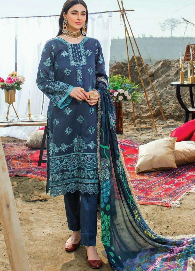 Uns-e-Baharan by Serene Premium Embroidered Lawn Suits Unstitched 3 Piece SP21UB SL-16 NEELAM - Summer Collection