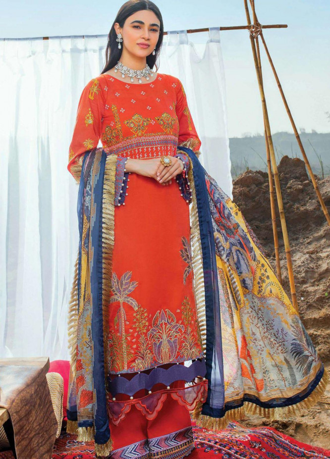 Uns-e-Baharan by Serene Premium Embroidered Lawn Suits Unstitched 3 Piece SP21UB SL-17 GUNCHA - Summer Collection