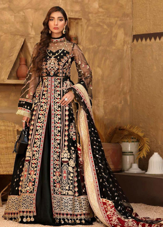 Virsa By Emaan Adeel Embroidered Net Suits Unstitched 3 Piece EA21V 01 - Luxury Collection