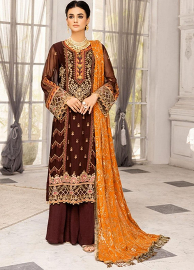 Virsa by Mohagni Embroidered Chiffon Suits Unstitched 3 Piece MO21V MGA-21-09 - Luxury Collection
