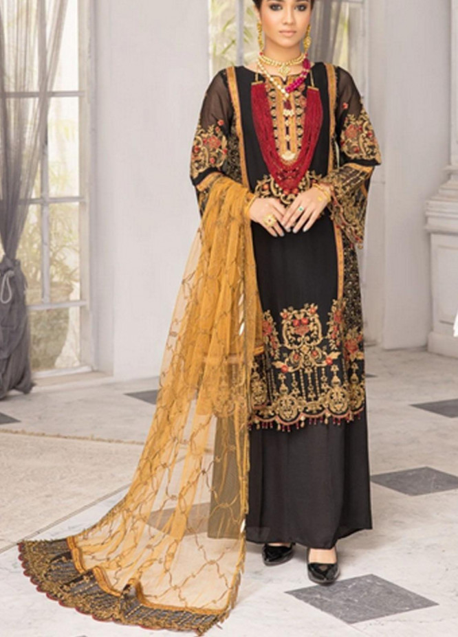 Virsa by Mohagni Embroidered Chiffon Suits Unstitched 3 Piece MO21V MGA-21-11 - Luxury Collection