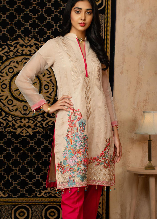 Vital Soiree By AB Textiles Embroidered Organza  Unstitched Kurties AB21VS VWE-05 BEIGE - Festive Collection