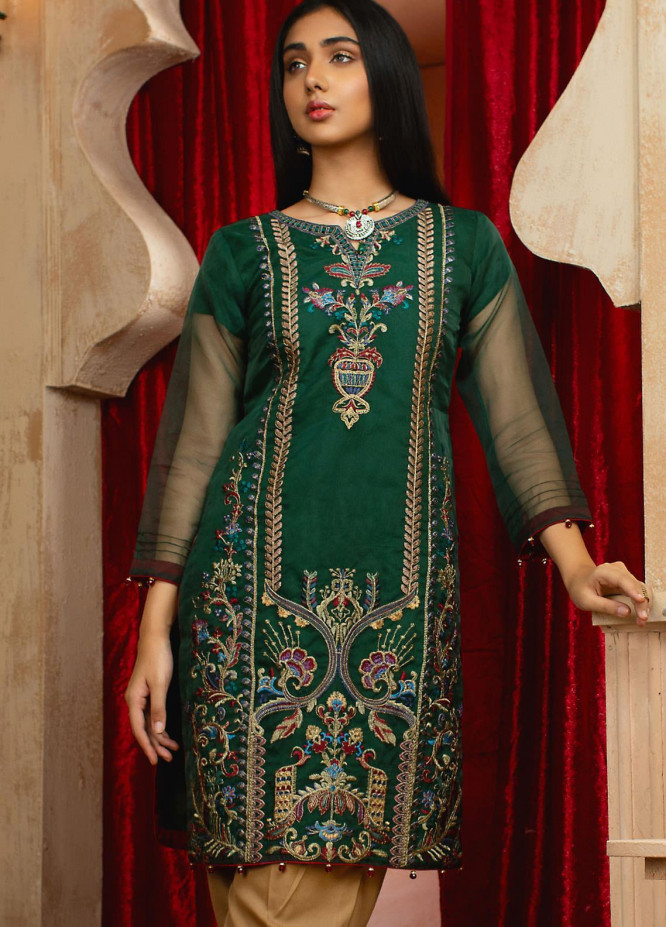 Vital Soiree By AB Textiles Embroidered Organza  Unstitched Kurties AB21VS VWE-06 VERTE - Festive Collection
