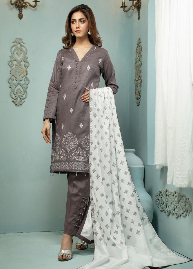 Vital White Elegence By AB Textiles Embroidered Lawn Suits Unstitched 3 Piece AB21V 01 Gris - Summer Collection