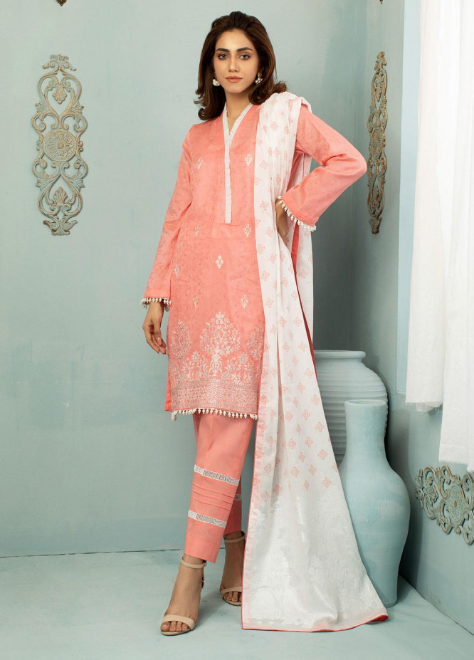 Vital White Elegence By AB Textiles Embroidered Lawn Suits Unstitched 3 Piece AB21V 03 Rosa - Summer Collection
