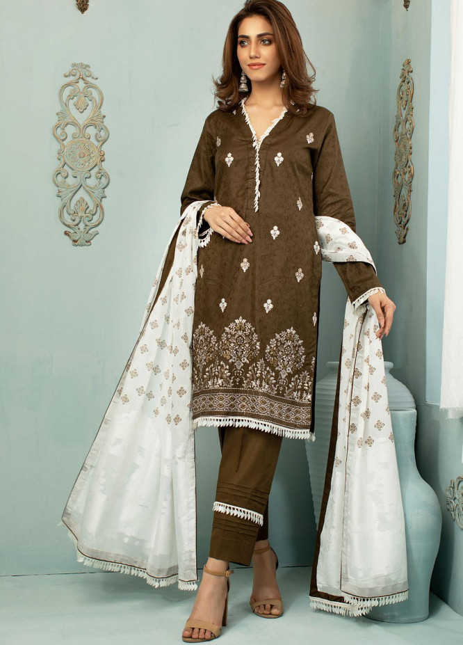Vital White Elegence By AB Textiles Embroidered Lawn Suits Unstitched 3 Piece AB21V 04 Vert Henne - Summer Collection