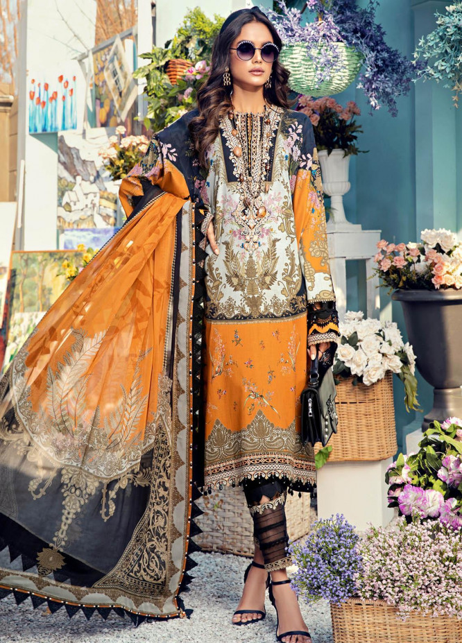Anaya By Kiran Chaudhry Embroidered Lawn Suits Unstitched 3 Piece AK21VL VL21-01-A LISA - Summer Collection