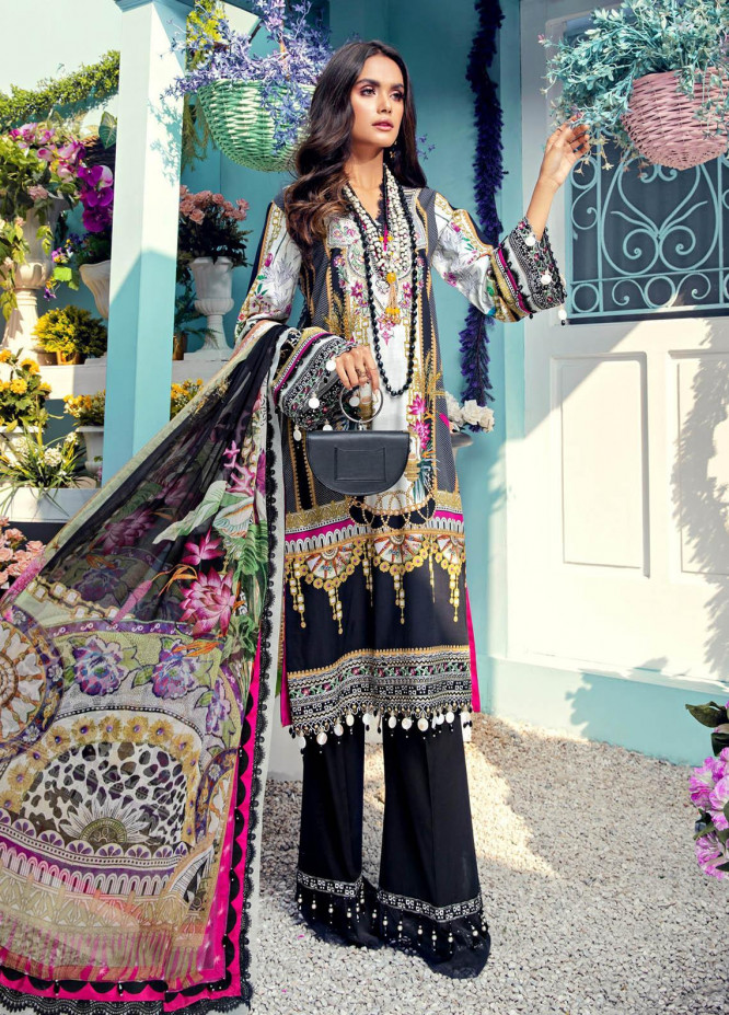 Anaya By Kiran Chaudhry Embroidered Lawn Suits Unstitched 3 Piece AK21VL VL21-02-A MARIA - Summer Collection