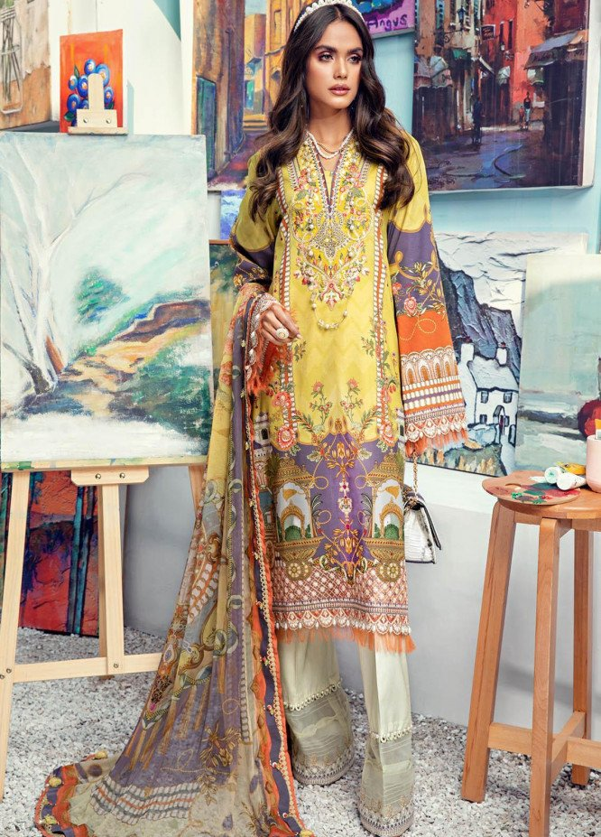 Anaya By Kiran Chaudhry Embroidered Lawn Suits Unstitched 3 Piece AK21VL VL21-03-A JESSICA - Summer Collection
