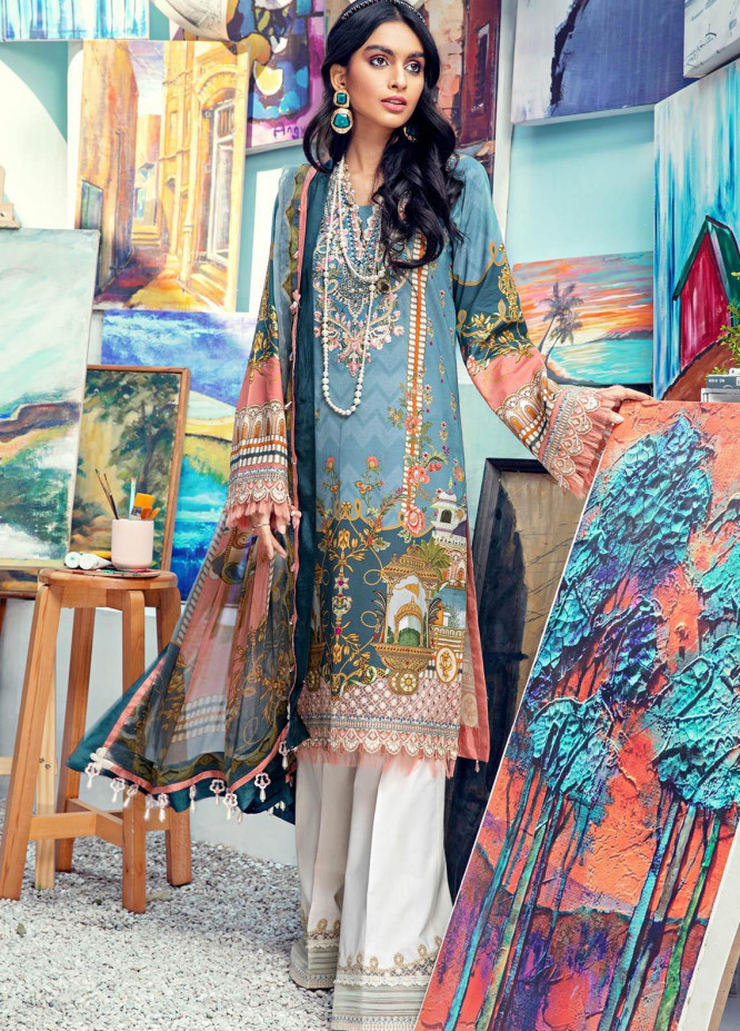 Anaya By Kiran Chaudhry Embroidered Lawn Suits Unstitched 3 Piece AK21VL VL21-03-B NORA - Summer Collection