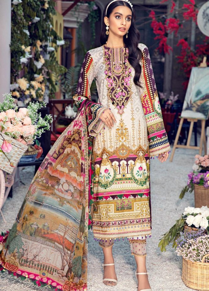 Anaya By Kiran Chaudhry Embroidered Lawn Suits Unstitched 3 Piece AK21VL VL21-10-B DELILA - Summer Collection